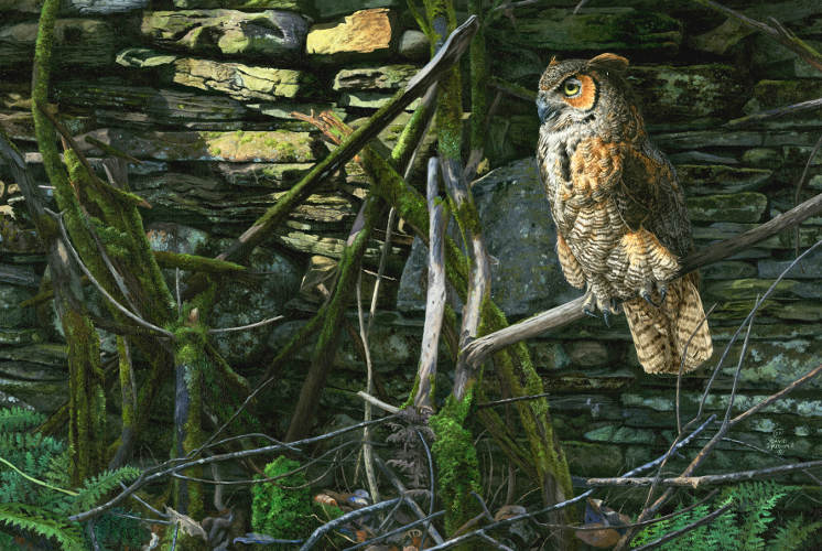 """Foundation Wall"" Owl Painting by David Kiehm"