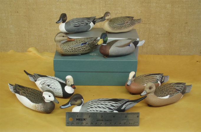 Pintails Mallards Old Squaws Widgeon Mini Decoy carvings  by John Wood