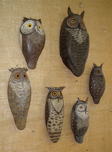 A Group of Owl Carvings by Russ Allen